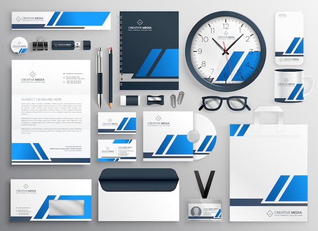 Professional blue business collateral stationery set Free Vector