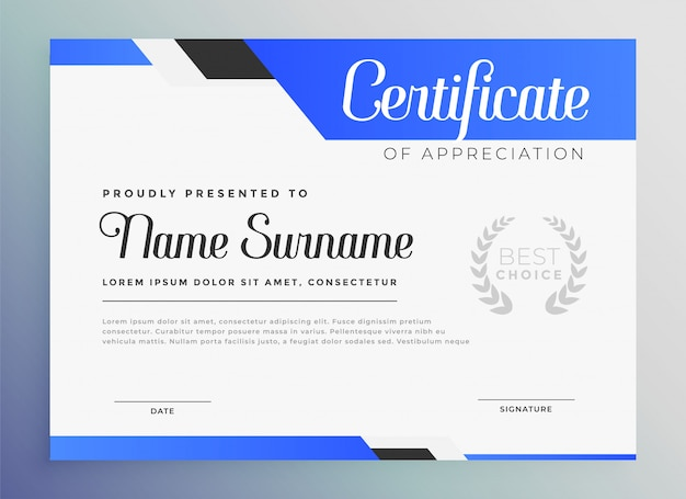 Professional blue certificate of appreciation template Free Vector