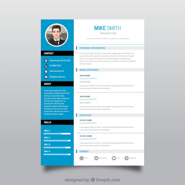 Professional blue cv concept Vector | Free Download
