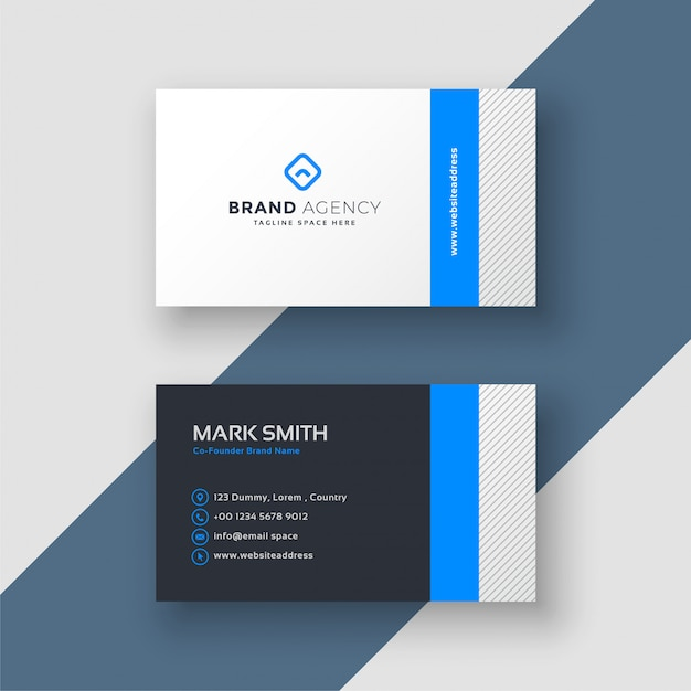 Professional blue minimal style business card template vector free professional blue minimal style business card template free vector maxwellsz