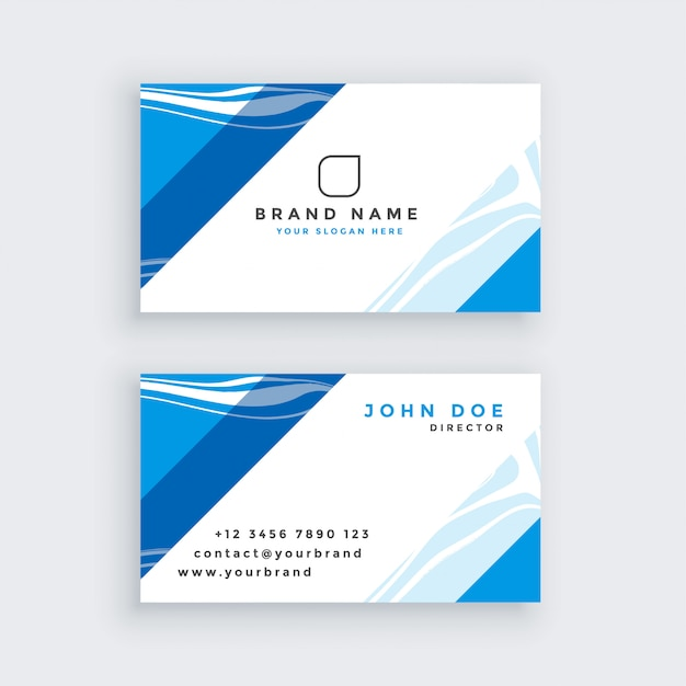 Professional blue modern business card Free Vector