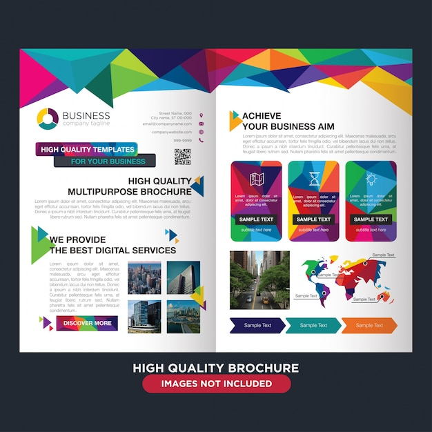 Professional brochure for multipurpose business Free Vector