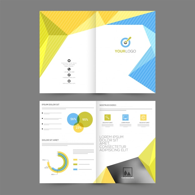 Professional brochure, template design with front, inner ...