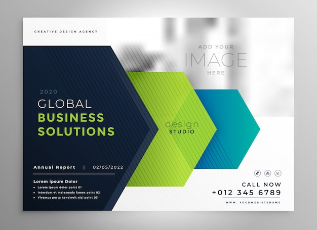 Professional brochure template in geometric style Free Vector