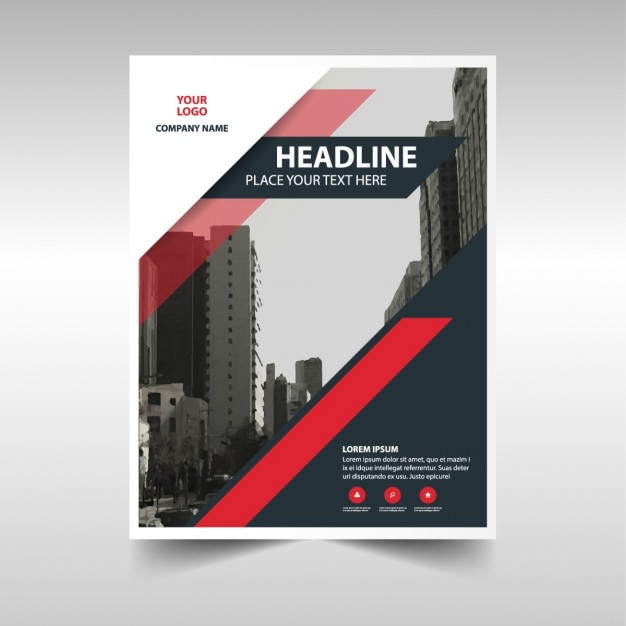 Professional brochure with red and black shapes Free Vector