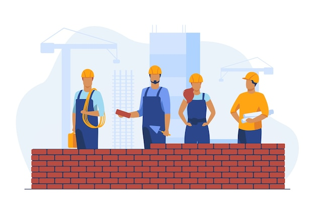 Professional builders making brick wall. site, helmet, constructor flat vector illustration. construction and engineering Free Vector
