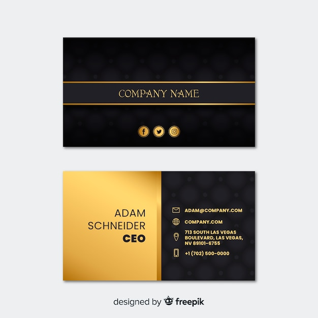 Professional Business Card Template In Elegant Design Vector Free
