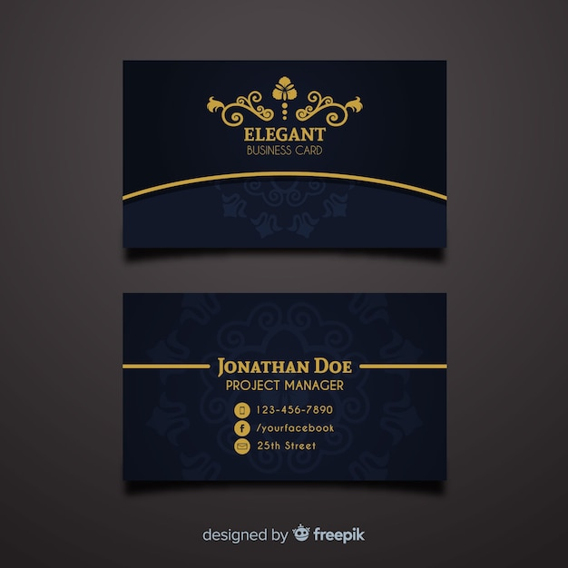 Professional Business Card Template In Elegant Style Vector Free