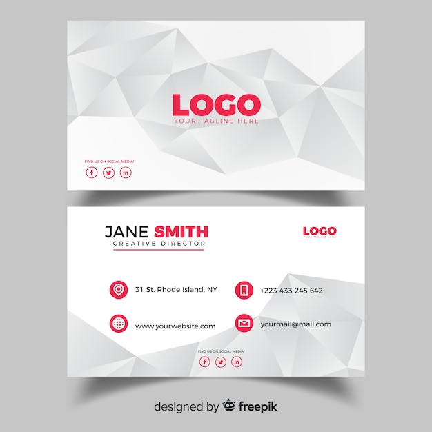 Professional business card template with geometric shapes vector professional business card template with geometric shapes free vector flashek