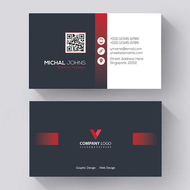 Professional business card template with red details Free Vector