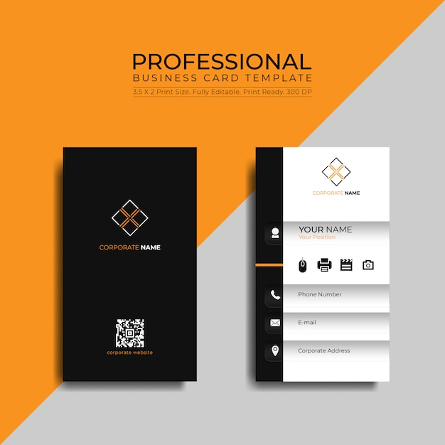 Professional business card template Premium Vector