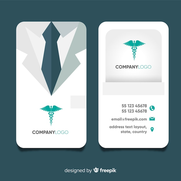 Professional business card with medical concept Free Vector