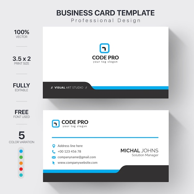 Professional business cards template with color variation Free Vector