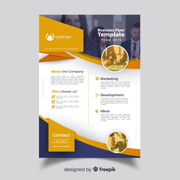 Free Professional Flyer Templates: Professional Business Flyer Template Concept Vector