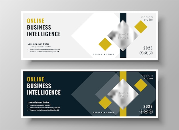 Professional business geometric facebook cover or header template design Free Vector