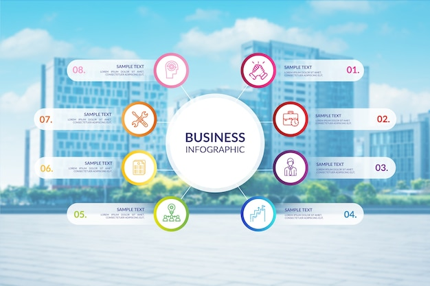 Professional business infographic with photo Free Vector