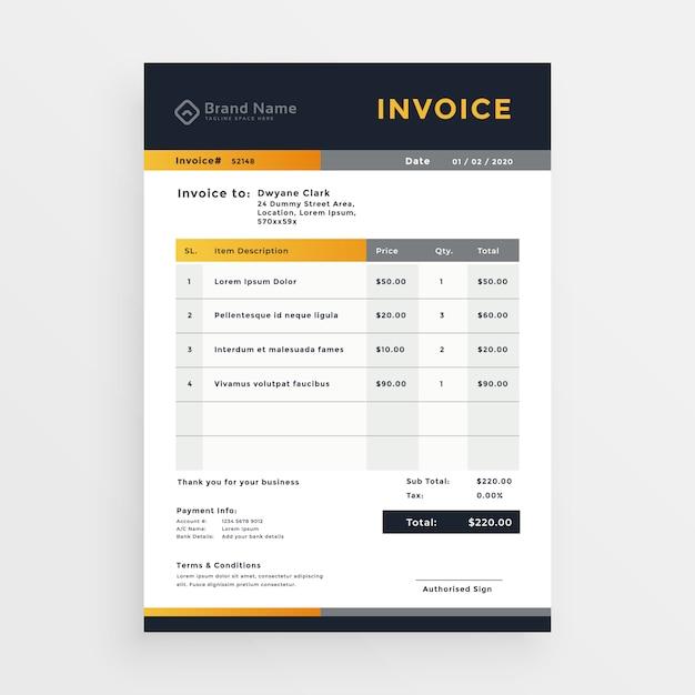 Professional business invoice template design Premium Vector
