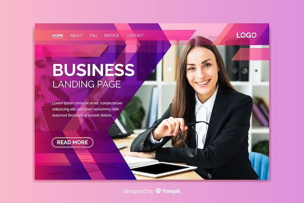 Professional business landing page with image Free Vector