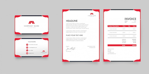 Professional business stationery pack with red shapes Free Vector
