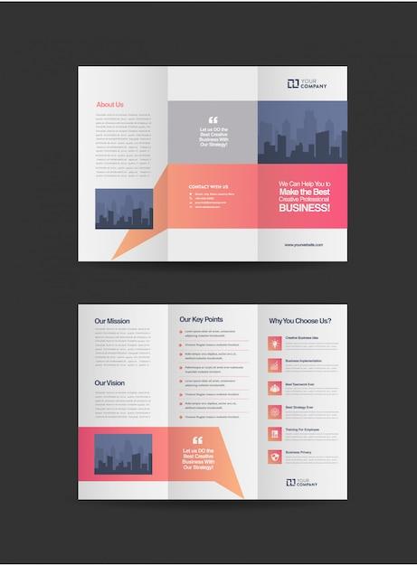 Professional business tri-fold brochure Premium Vector