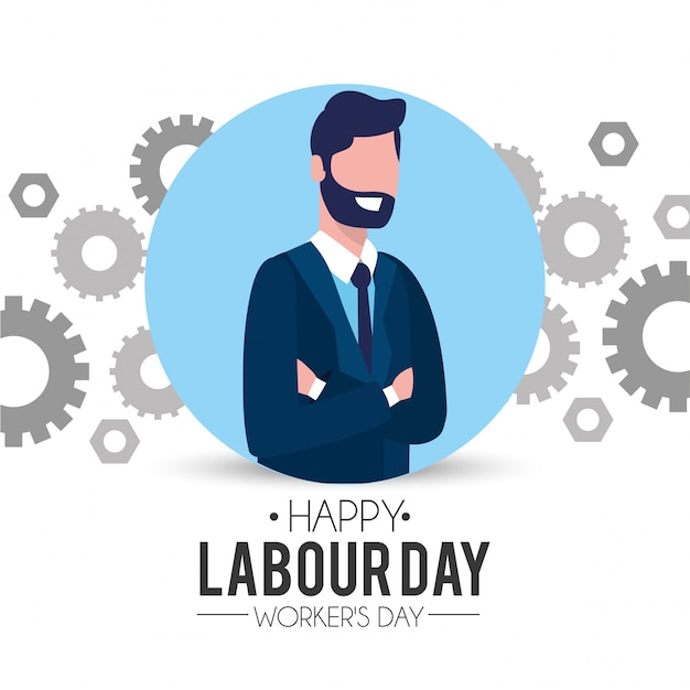 Professional businessman with gear to labour day Premium Vector