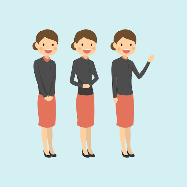 Professional Career Woman Modestly Welcoming And Explaining Premium Vector