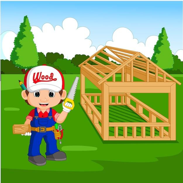Professional carpenter cartoon Premium Vector