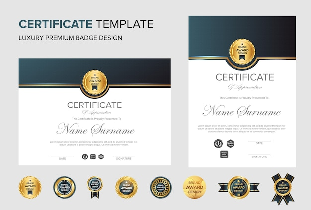 Professional certificate background with badge Premium Vector