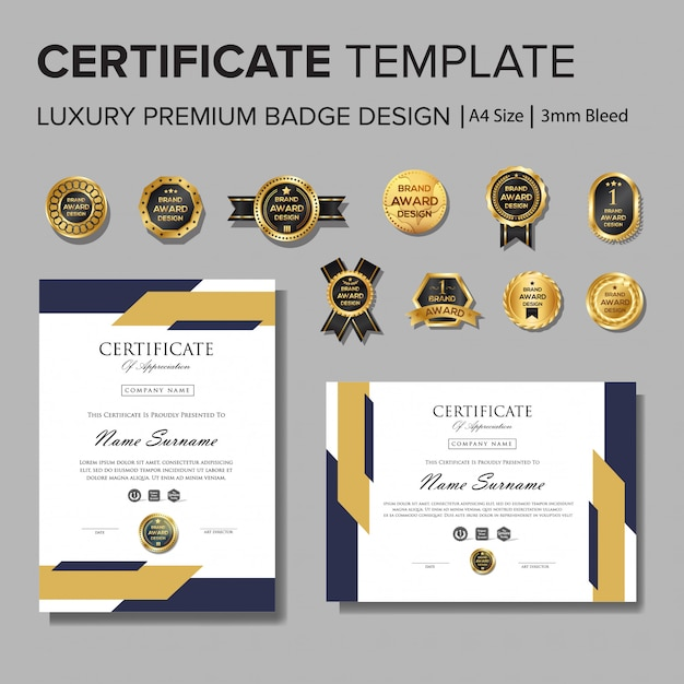 Professional certificate design with badge Premium Vector