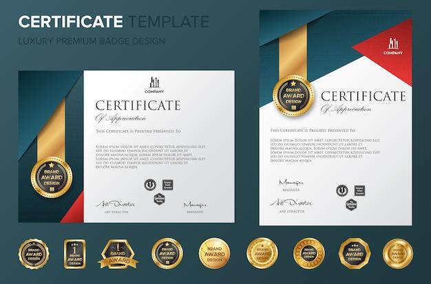 Template sertifikat profesional bakcground mewah vektor Vektor Premium
