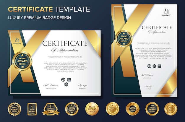 Professional certificate template bakcground luxury vector Premium Vector