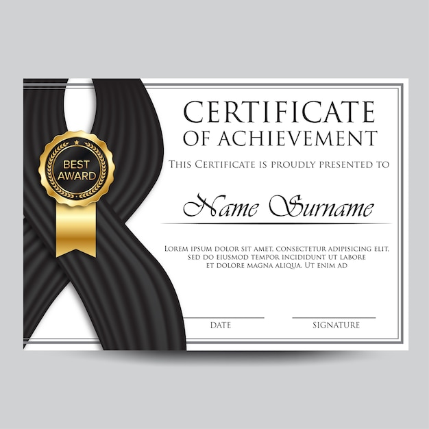 Professional certificate template design with wave Vector ...