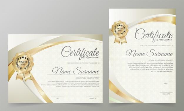 Professional certificate template diploma award design Premium Vector