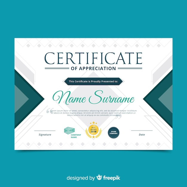Professional certificate template Free Vector