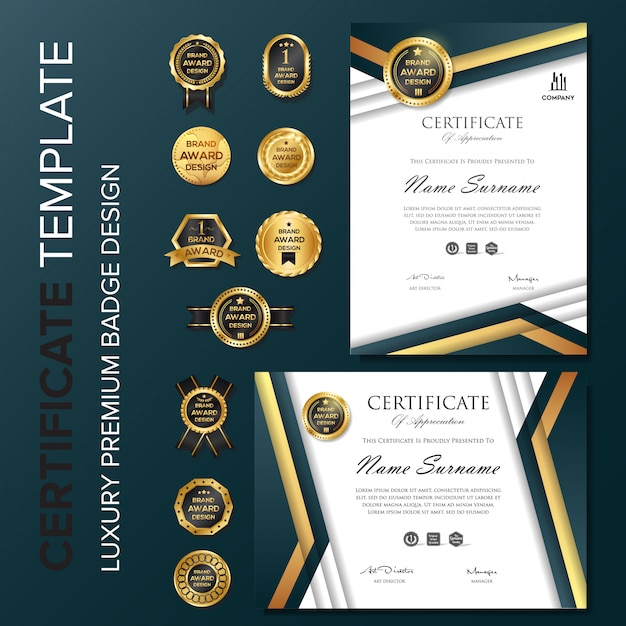 Professional certificate with badge template Premium Vector