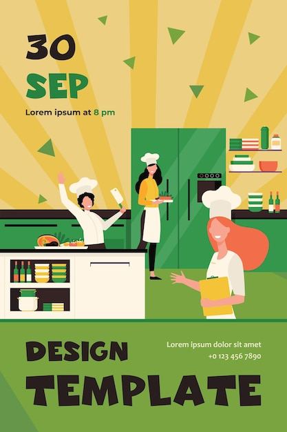 Professional chefs cooking at restaurant kitchen flat Free Vector