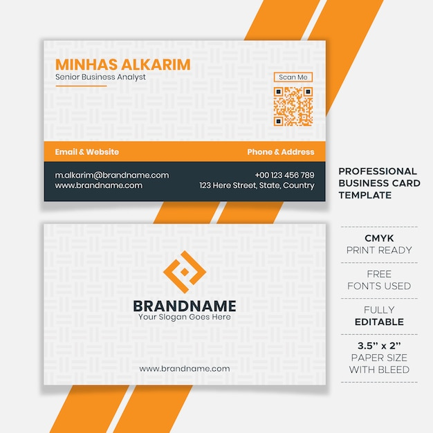 Professional clean business card template Vector | Premium Download