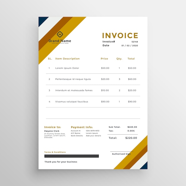 professional clean invoice template design vector free download