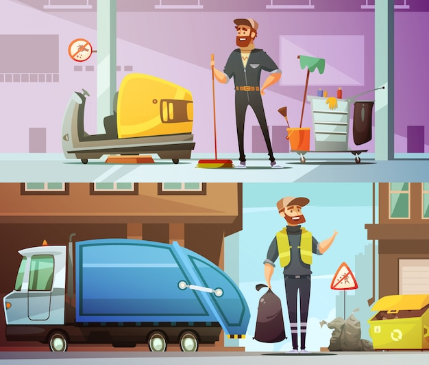 Professional cleaning and garbage collecting service at work Free Vector