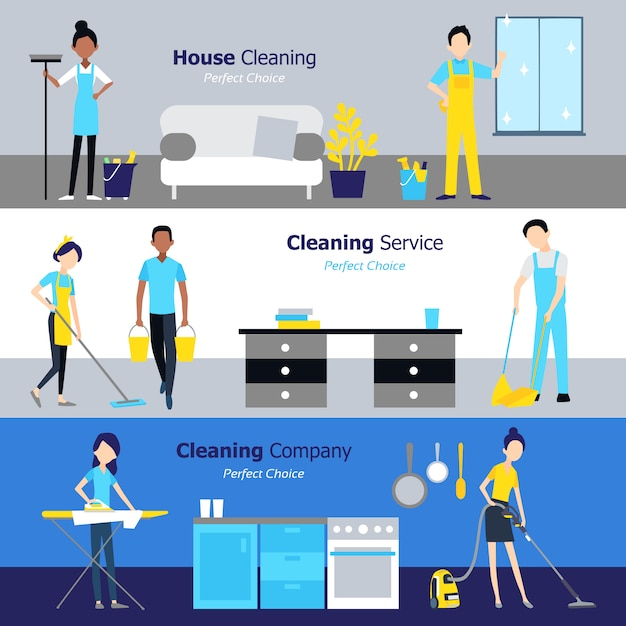 Professional cleaning horizontal banners Free Vector