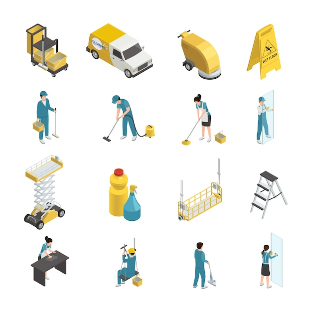 Professional cleaning isometric icons with staff in uniform, detergents and machine equipment including transport Free Vector