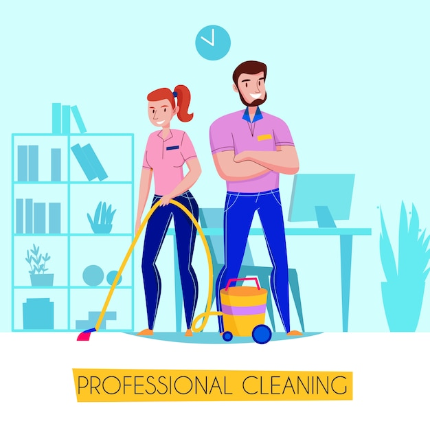 Professional cleaning service flat advertising poster with team in uniform vacuuming floor in living room  illustration Free Vector