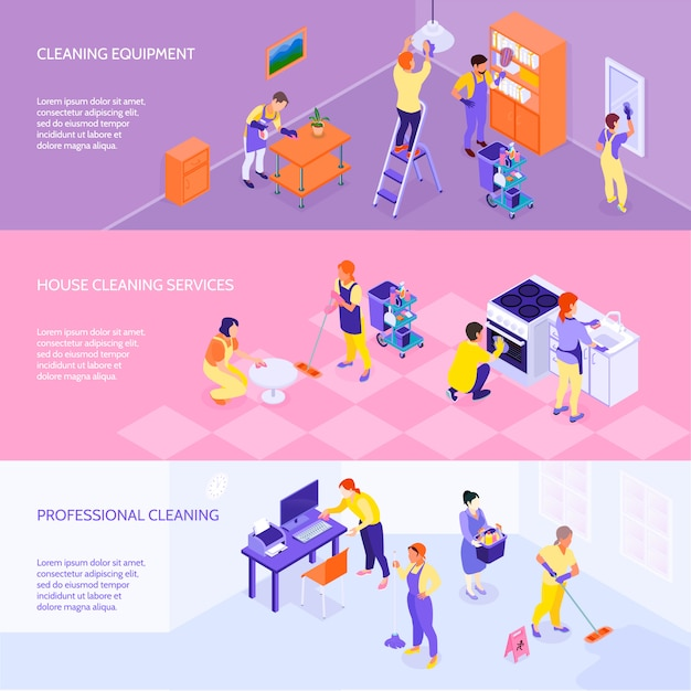 Professional cleaning service isometric banners Free Vector