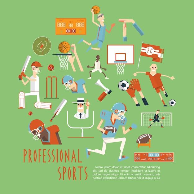 Профессиональный конкурс спортивных командных плакатов Бесплатные векторы