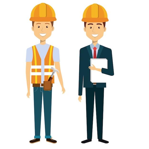 Professional construction people characters vector illustration design Premium Vector