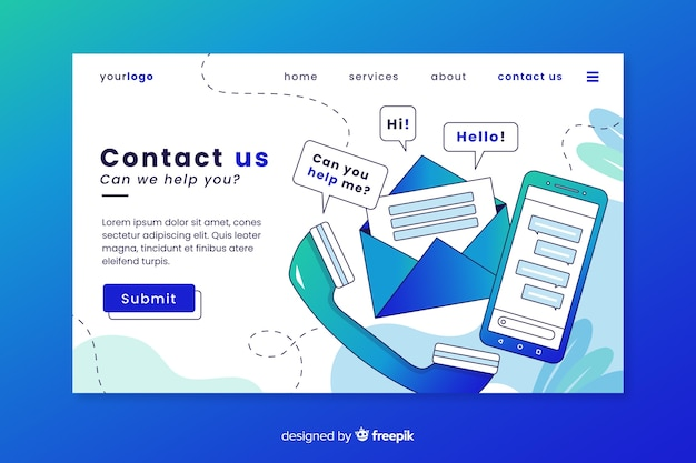 Professional contact us landing page Free Vector