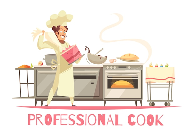 Professional cook composition Free Vector