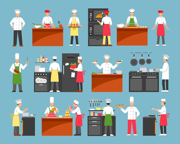 Professional cooking decorative icons set Free Vector