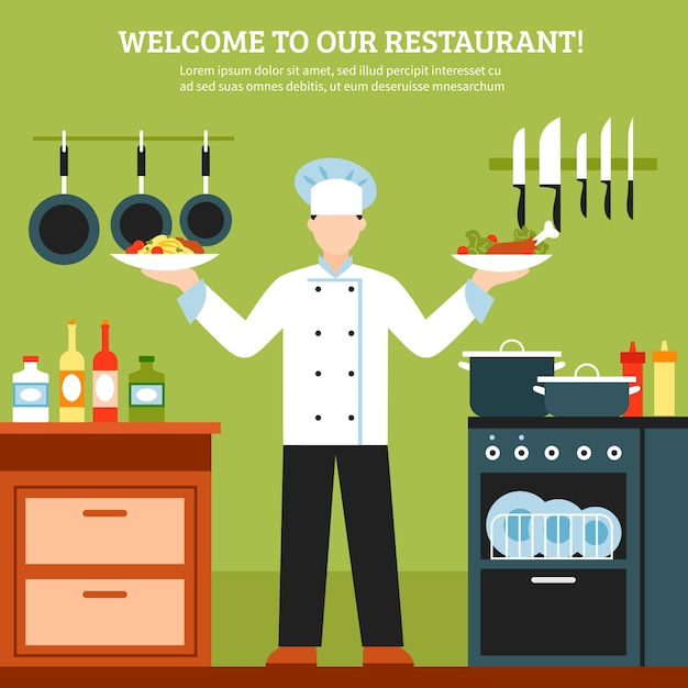 Professional cooking design composition Free Vector