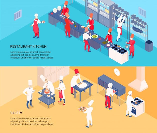 Professional cooking isometric banners with restaurant kitchen and bakery on blue and yellow backgrounds isolated Free Vector